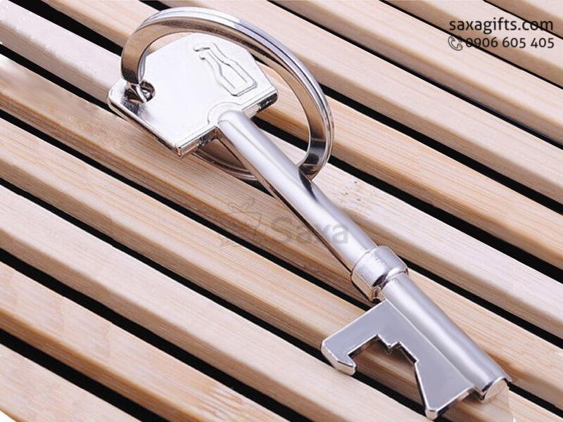 Móc khóa kim loại in logo mô hình chìa khóa cổ điển