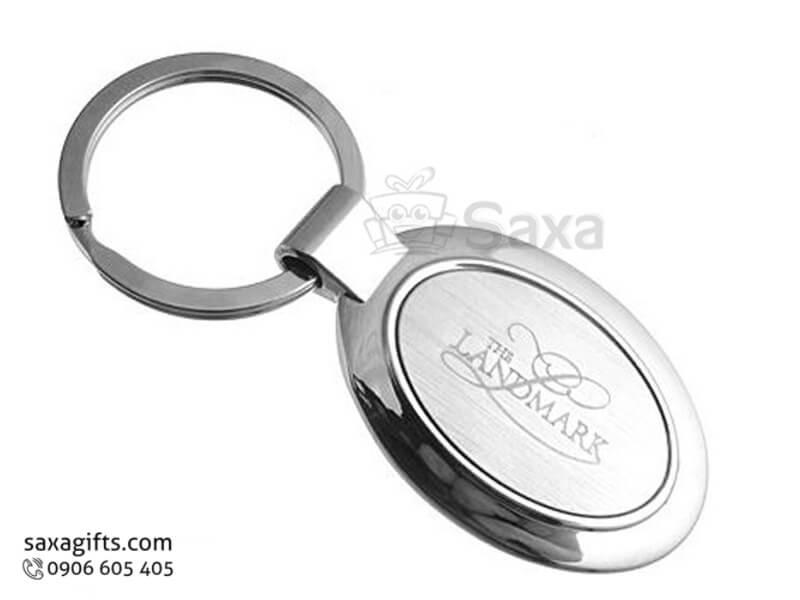 Móc khóa kim loại in logo hình oval