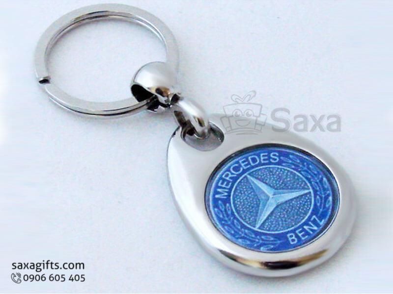 Móc khóa kim loại in logo hình giọt nước hiệu Mercedes Benz