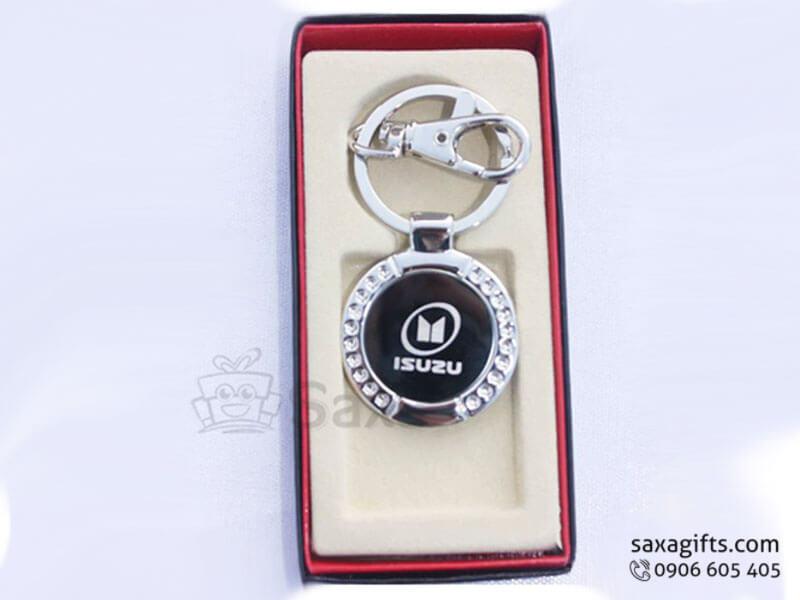 Móc khóa kim loại in logo hình tròn đính đá sang trọng