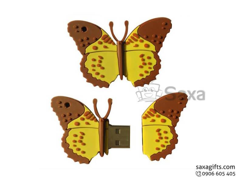 USB cao su đổ khuôn 2D nắp rời hình bươm bướm