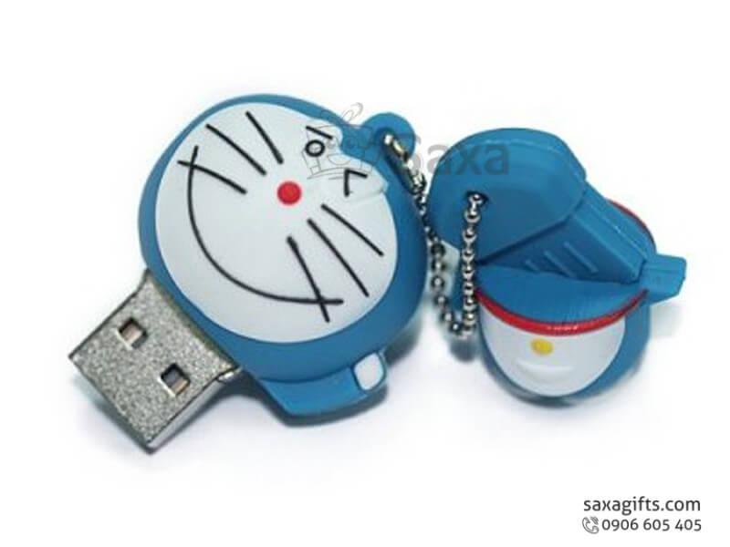 USB cao su đổ khuôn 3D nắp rời hình Đô-rê-mon