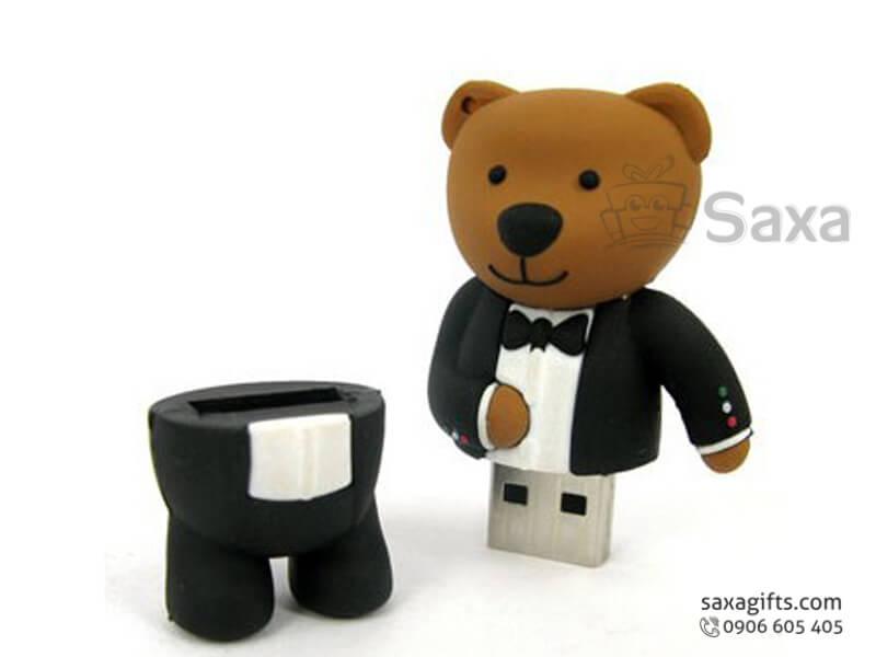 USB cao su 3D nắp rời hình Gấu Teddy