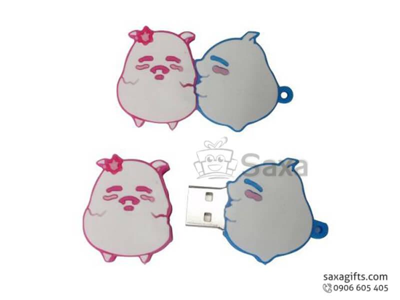 USB vỏ cao su làm theo mẫu 2D nắp rời con heo