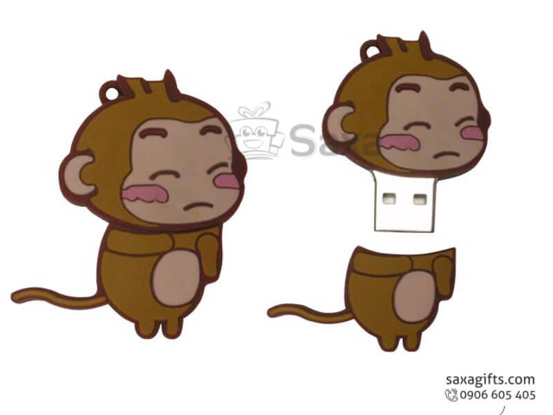 USB vỏ cao su làm theo mẫu 2D nắp rời con khỉ