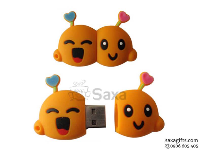 USB vỏ cao su làm theo mẫu 3D nắp rời mặt cười