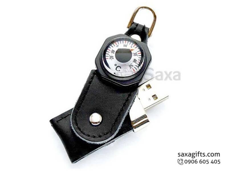 USB vỏ da in logo có móc khóavà đồng hồ đo nhiệt độ