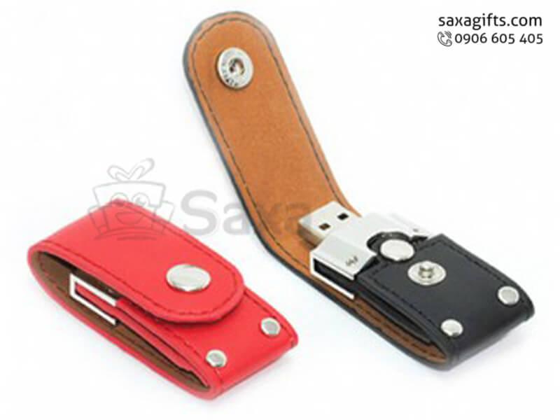 USB vỏ da in logonắp bật có nút bấm tiện dụng