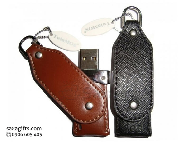 Usb vỏ da in logo có móc khóa xoay 360 bo góc (leather usb)