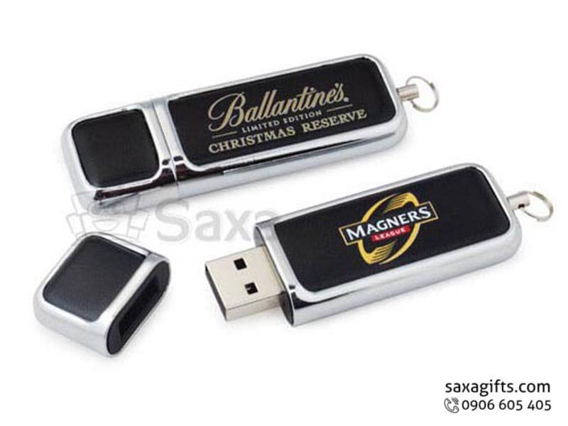 USB vỏ da in logo nắp rời phối kim loại sang trọng