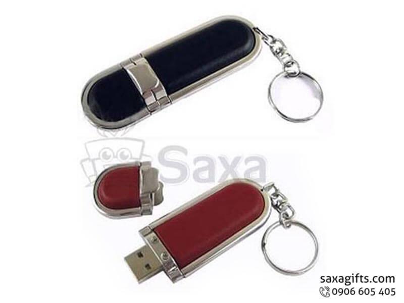 USB vỏ da in logo nắp rời phối da có móc khóa