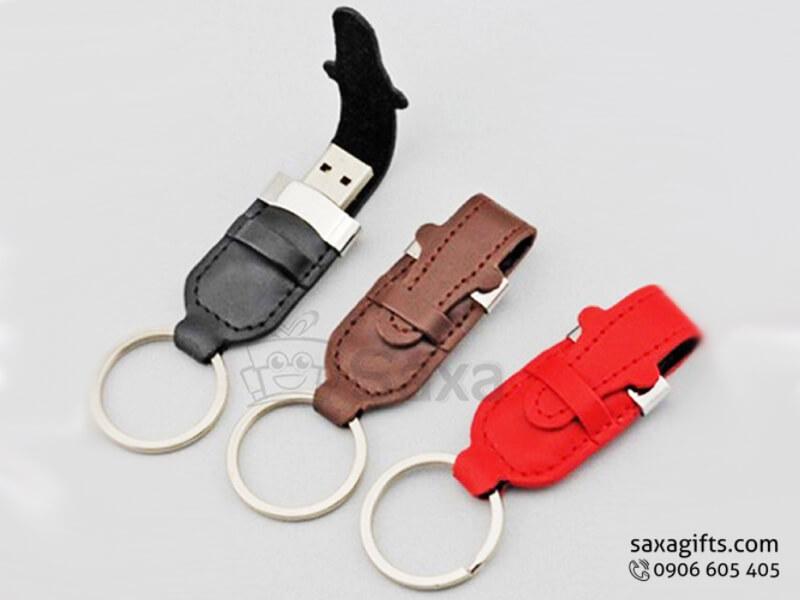 USB da móc khóa bằng da nắp cài