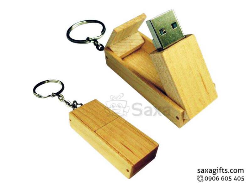 USB gỗ in logo móc khóa nắp bật xoay 180 độ