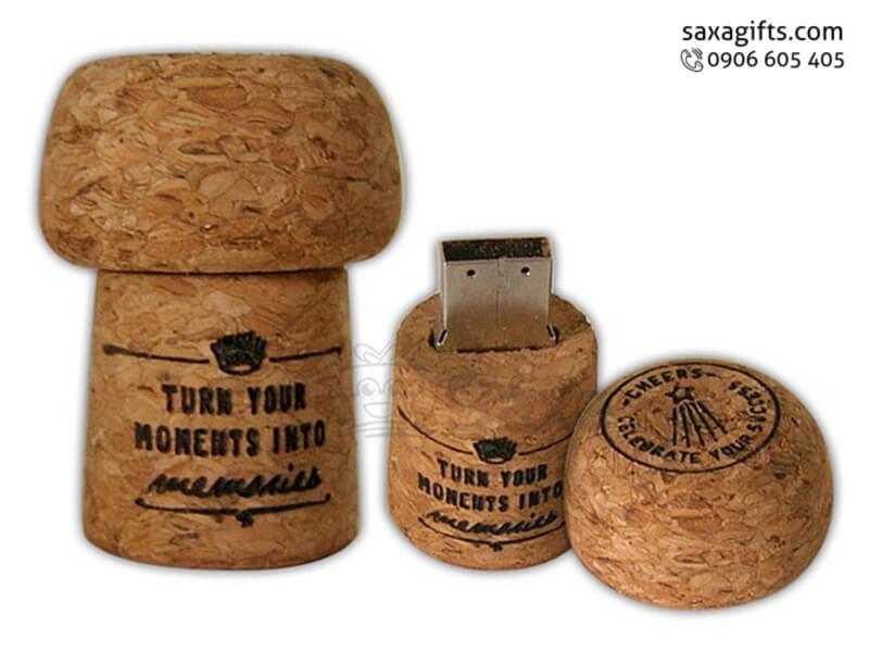 USB vỏ gỗ in logo nắp rời hình miếng pho mát cheese