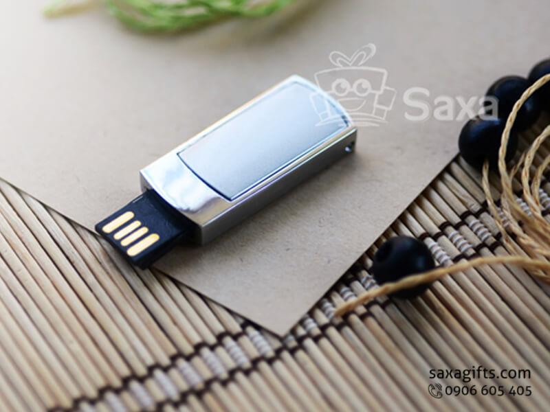 USB kim loại in logo dạng thanh trượt