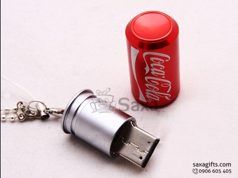 Usb kim loại in logo nắp rời mô hình lon Cocacola