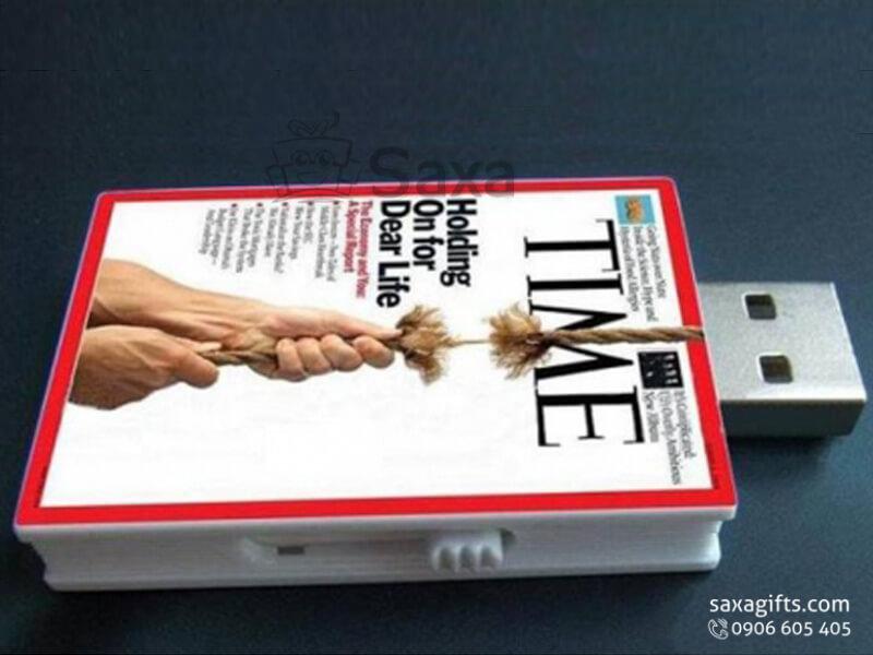 Usb nhựa in logo thanh trượt mô hình tạp chí Time