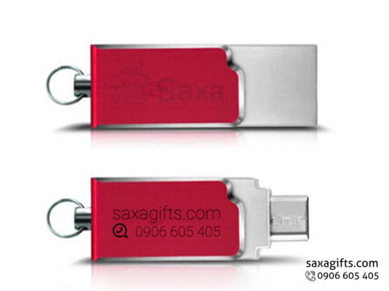 Usb on the go in logo nắp xoay bằng kim loại phối màu đỏ