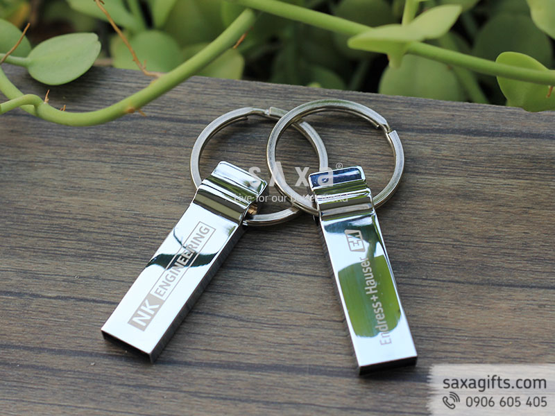 USB kim loại sang trọng khắc logo có khoen móc để gắn chìa khóa